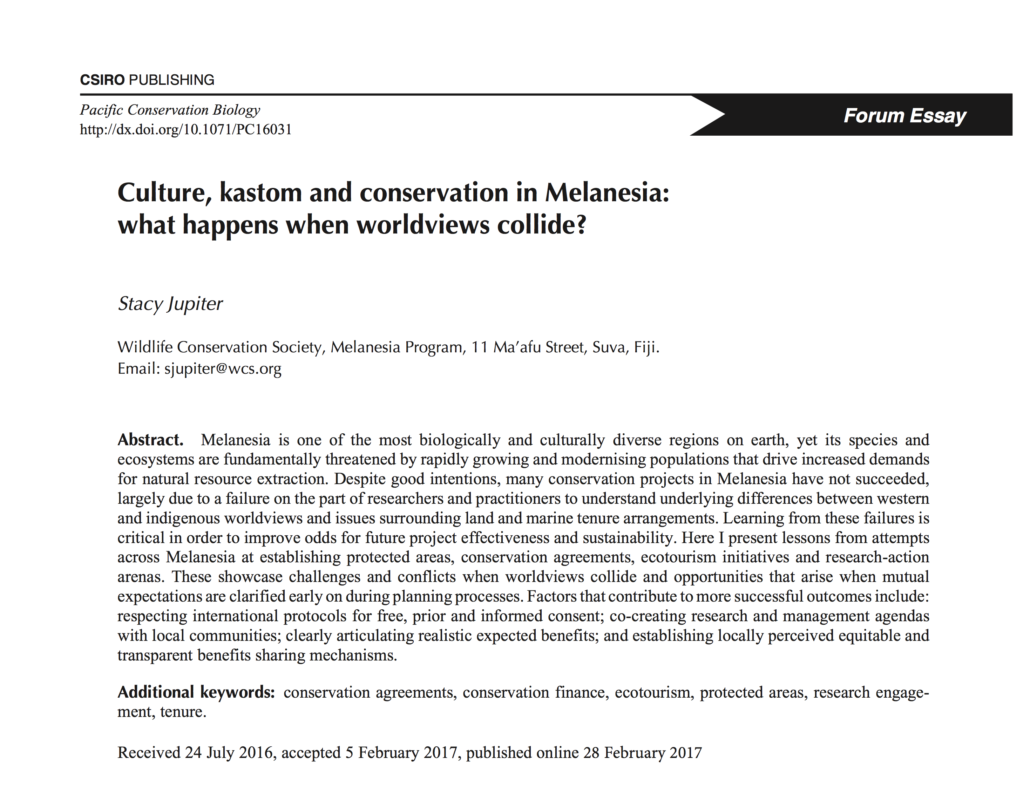 culture kastom and conservation in melanesia what happens when   essay is that conservation interventions that build on customary knowledge and practice while integrating science in a culturally sensitive way