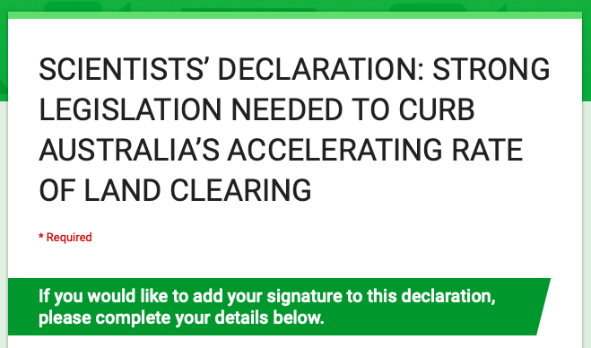 Sign the Scientists' Declaration on land clearing in Australia